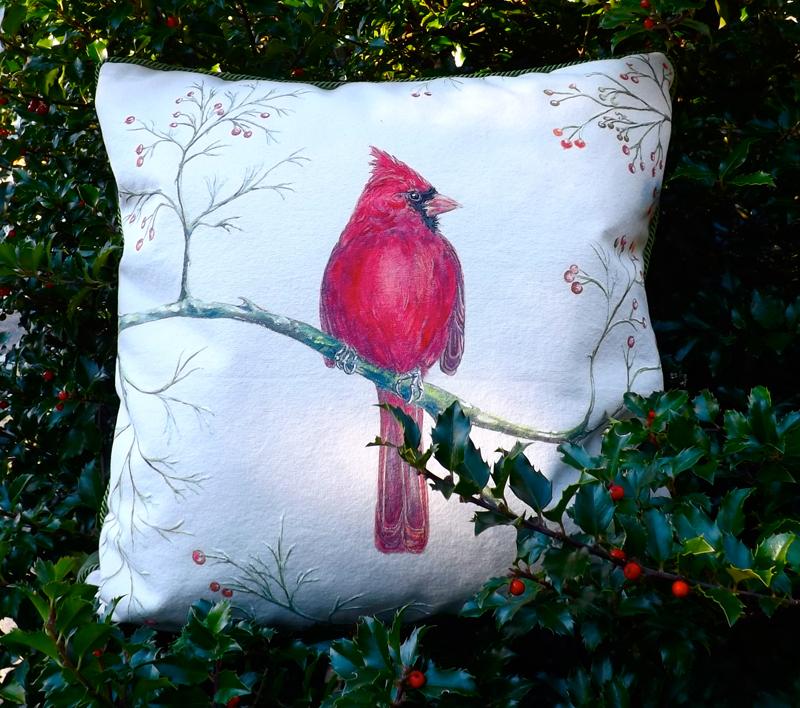 Cardinal Among Wild Rosehips